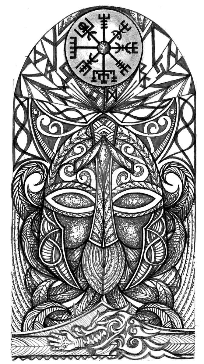 Viking god Tyr mask tattoo by thehoundofulster