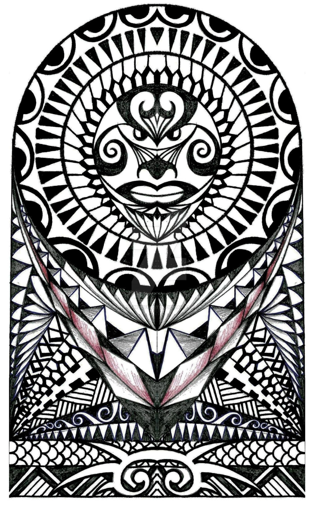polynesian halfsleeve tattoo design by thehoundofulster on deviantart. Black Bedroom Furniture Sets. Home Design Ideas