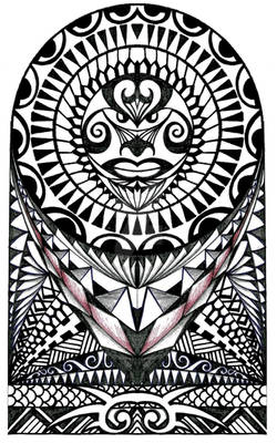Polynesian halfsleeve tattoo design
