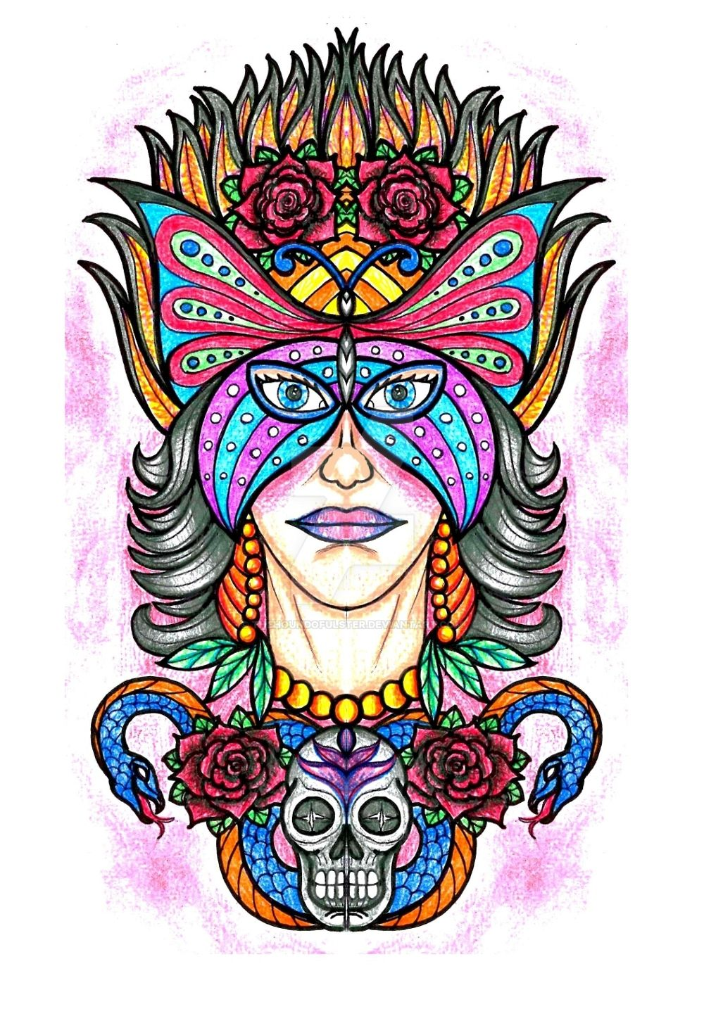 gypsy woman with butterfly mask tattoo by thehoundofulster on deviantart. Black Bedroom Furniture Sets. Home Design Ideas