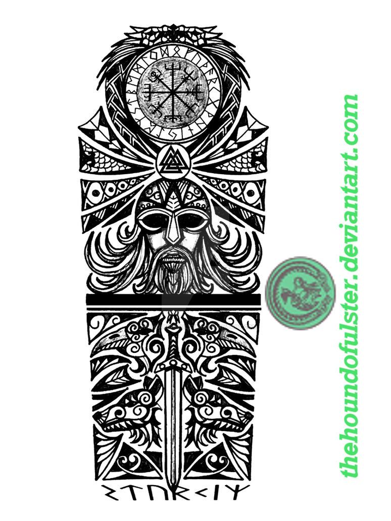 Viking Full Sleeve Tattoo By Thehoundofulster On Deviantart