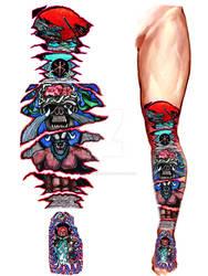 BERSERK inspired leg foot tattoo