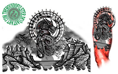 Steampunk Dragon in Dystopian World tattoo