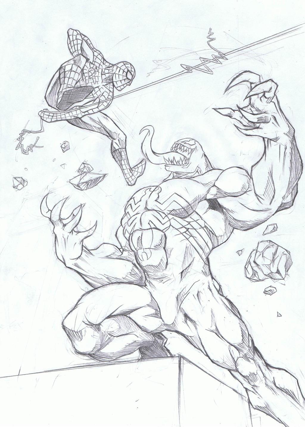 Spidey vs venom by karuma9 on deviantart for Spiderman vs venom coloring pages