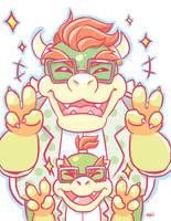 Mario: Megane Bowser + Bowser Jr. by SugarKills