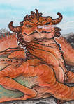 ACEO - Lounging at Rock Beach by BloodhoundOmega