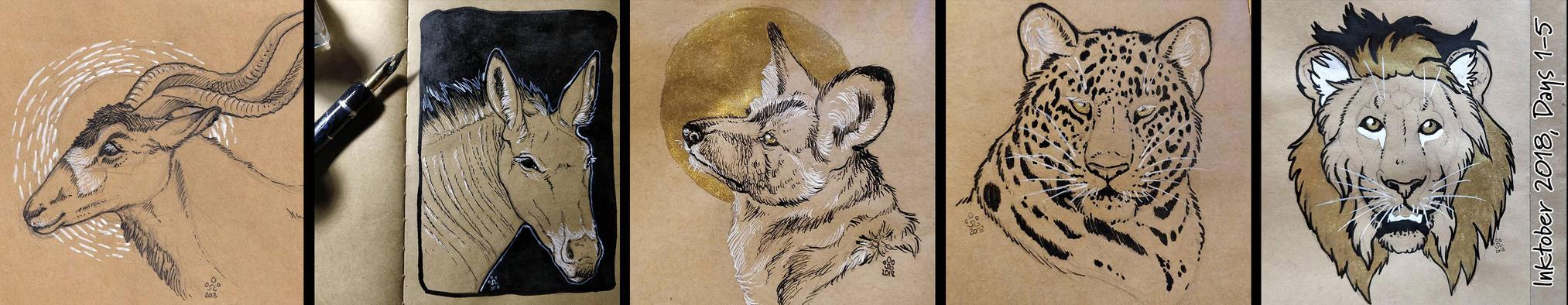 Inktober 2018, Days 1-5 by BloodhoundOmega