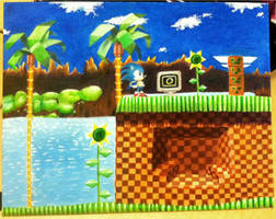 Green Hill Zone Oil Painting