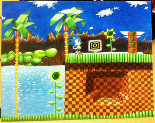 Green Hill Zone Oil Painting by DecemberWildfire