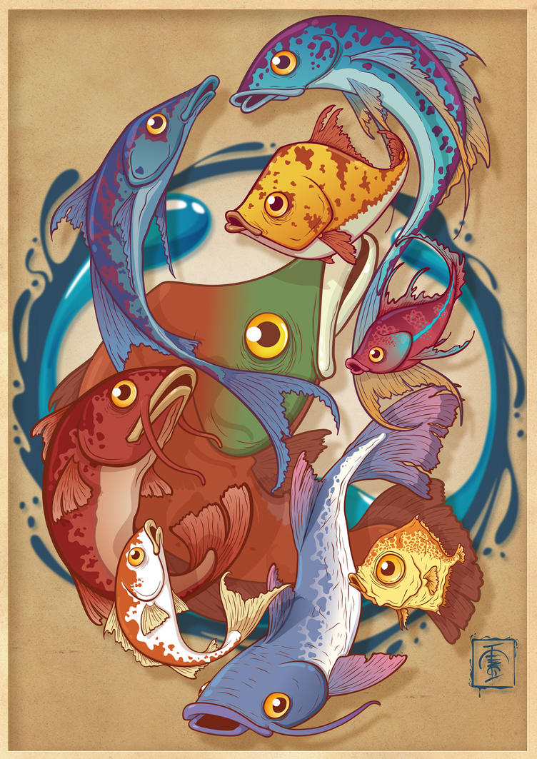 Fish composition colored by IgorSan on DeviantArt