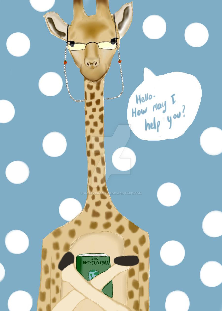 Giraffe Librarian by ForeverOtaku
