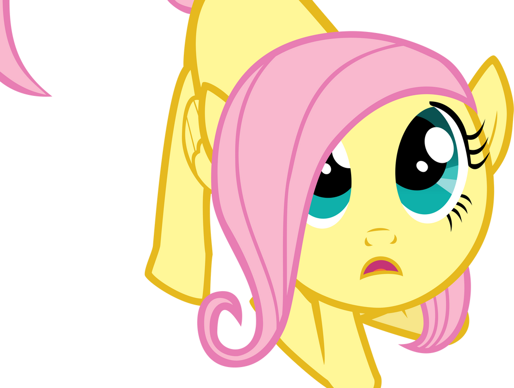 Filly Fluttershy looks up by isaacmorris