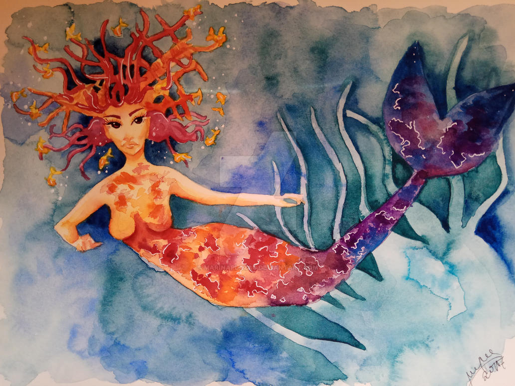 Mermaid|Watercolor|Speedpaint in the description by MarinaPlazaG