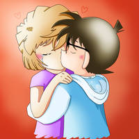Ai Haibara and Conan Edogawa kissing [request] by Lady-Kappa
