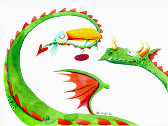 Dragon and toucan by sara-nmt