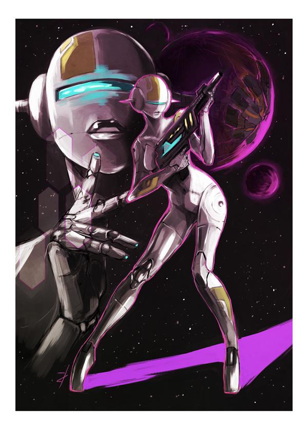 Warrior of Neon and Steel by Derrewyn