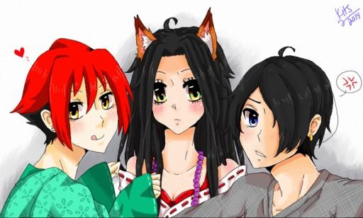 Kits, Taro, and Ike by KitsuneNo-Kimi