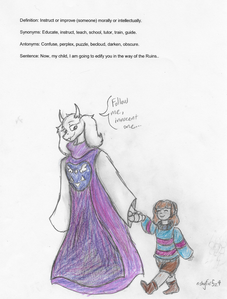 Toriel edifies Frisk in the ways of the Ruins by ashyfur524