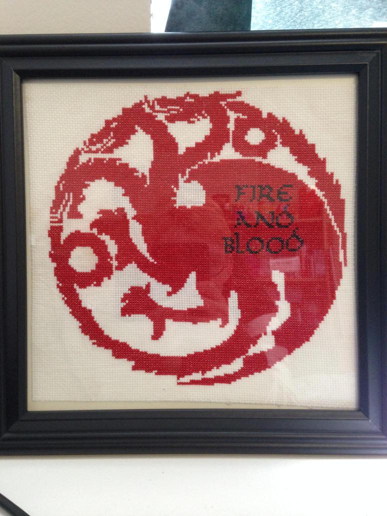 Targaryen Sigil Cross Stitch by HappyPenguinArt