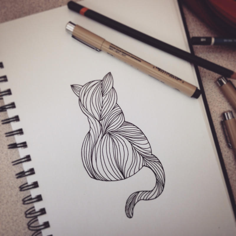 Cat Doodle by HappyPenguinArt