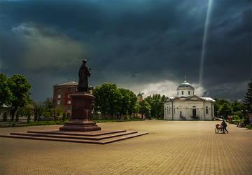 Square in Priluki, Ukraine by mariakovalchuk