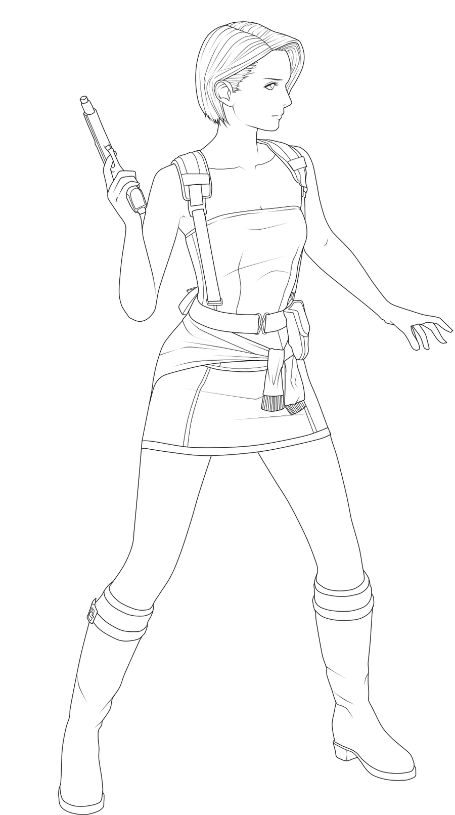 resident evil 5 jill valentine coloring pages | Jill Valentine line Art by AtomicApplePie10 on DeviantArt