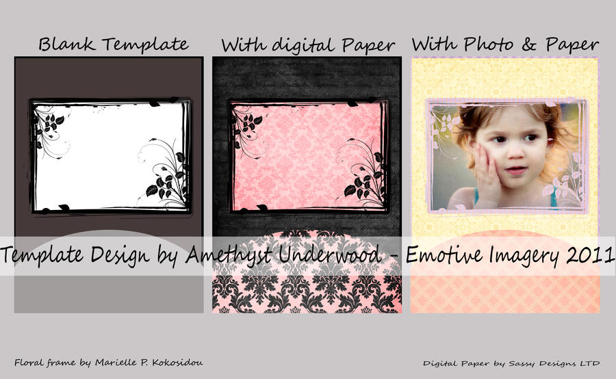 Floral Frame Template 001 by AmethystUnderwood