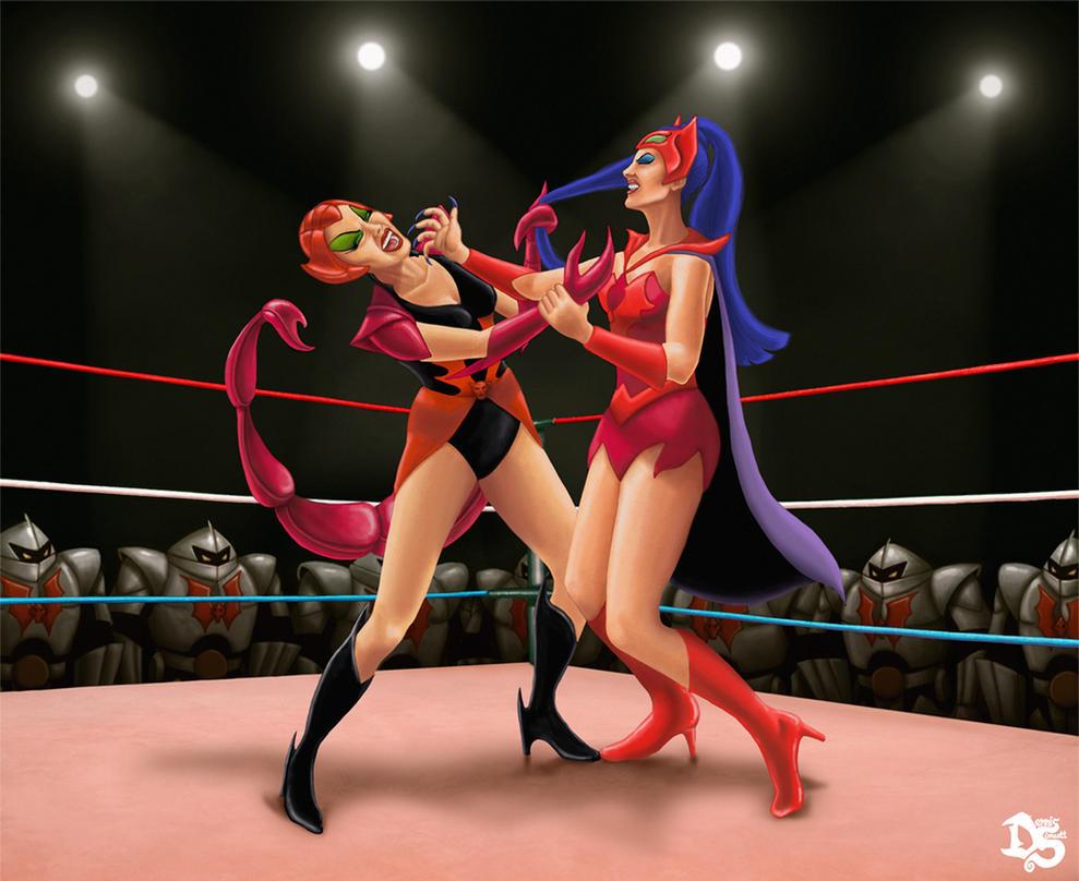 Scorpia vs Catra (She-Ra: Princess of Power) by SolarShine