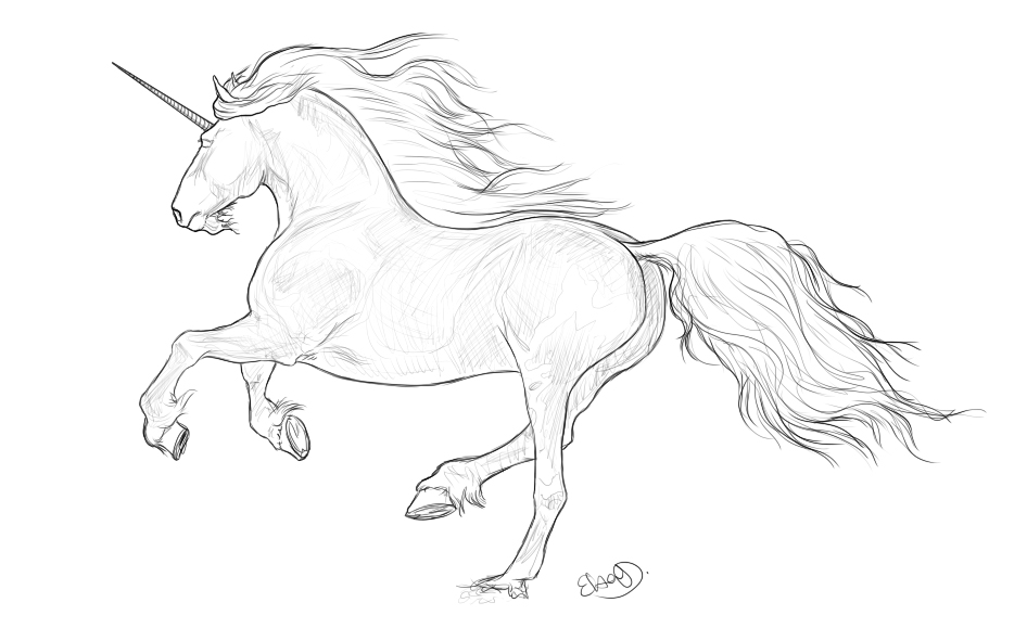 Unicorn lineart by Elsouille