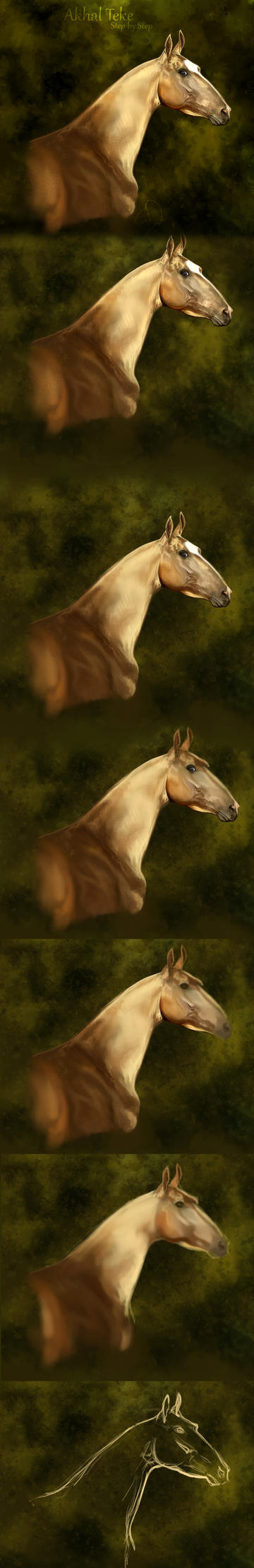 Akhal Teke II step by step by Elsouille