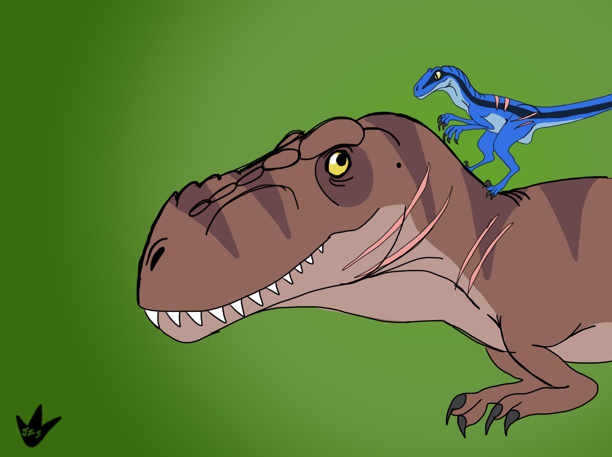 Rexy and Blue by DinoBirdMan
