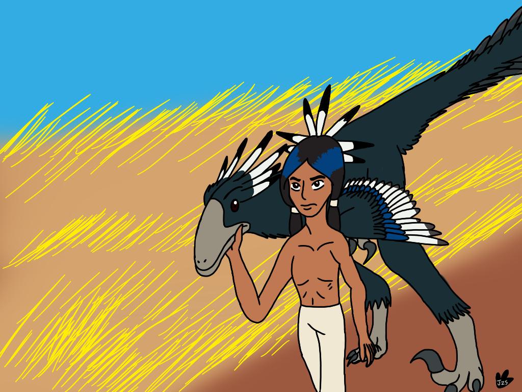 Dakotaraptor and Dakota Sioux by DinoBirdMan on DeviantArt