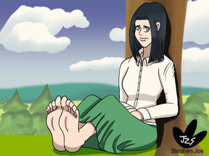 Frieda relaxing her feet