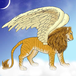 Winged Liger Commission by graphiteforlunch