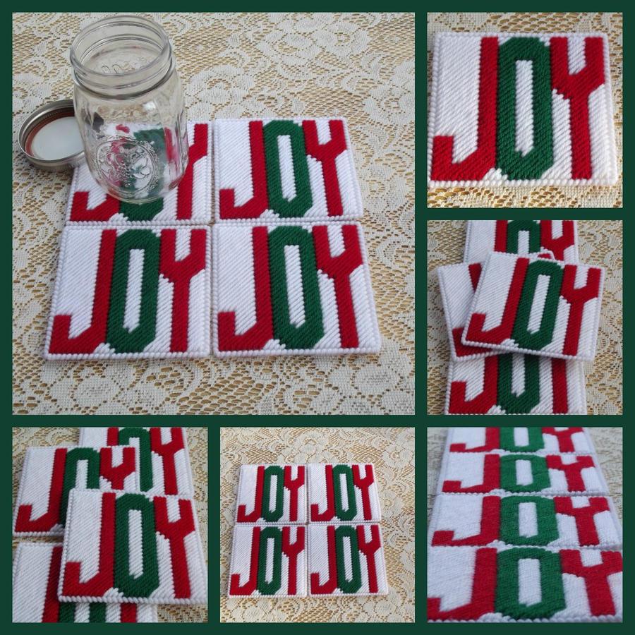 Plastic Canvas Christmas Coaster Patterns.Set Of 4 Plastic Canvas Christmas Joy Coasters By Bedtymegal