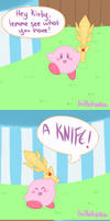 Kirby with a knife