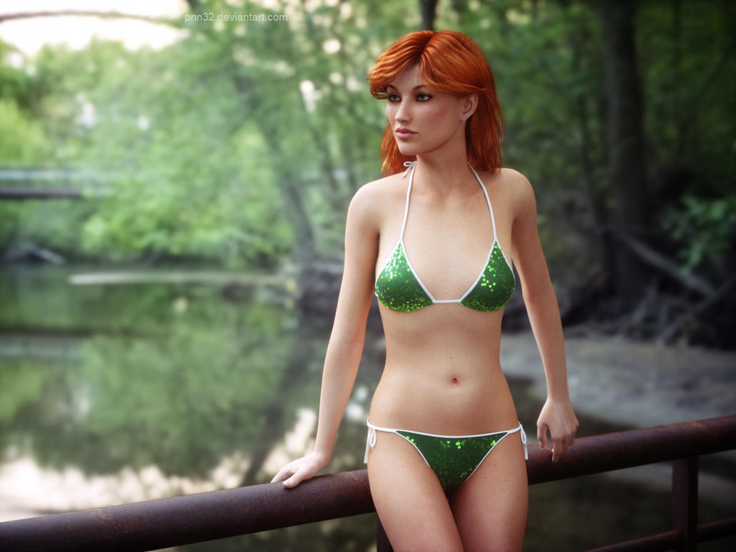 Redhead in sparkly green by pnn32