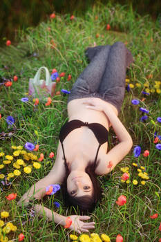 Grass bed with flowers