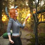 Meeting chipmunk in autumn forest