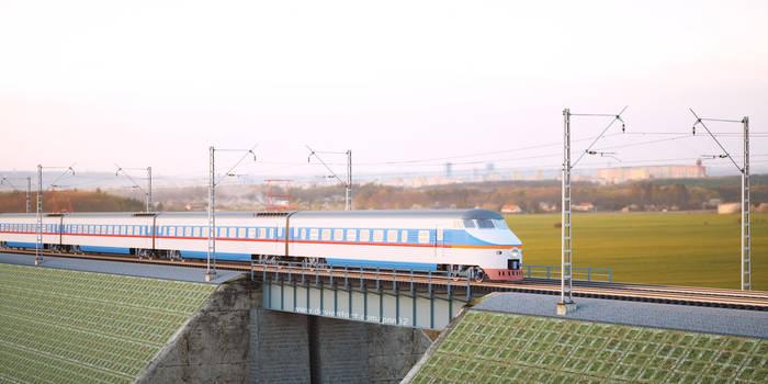 High speed train on bridge