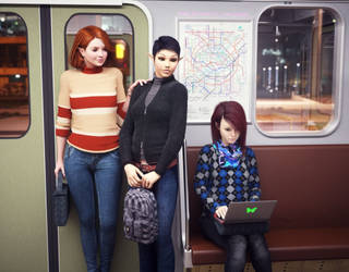Scene In A Subway Car