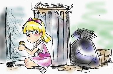Hiding behind Dumpster