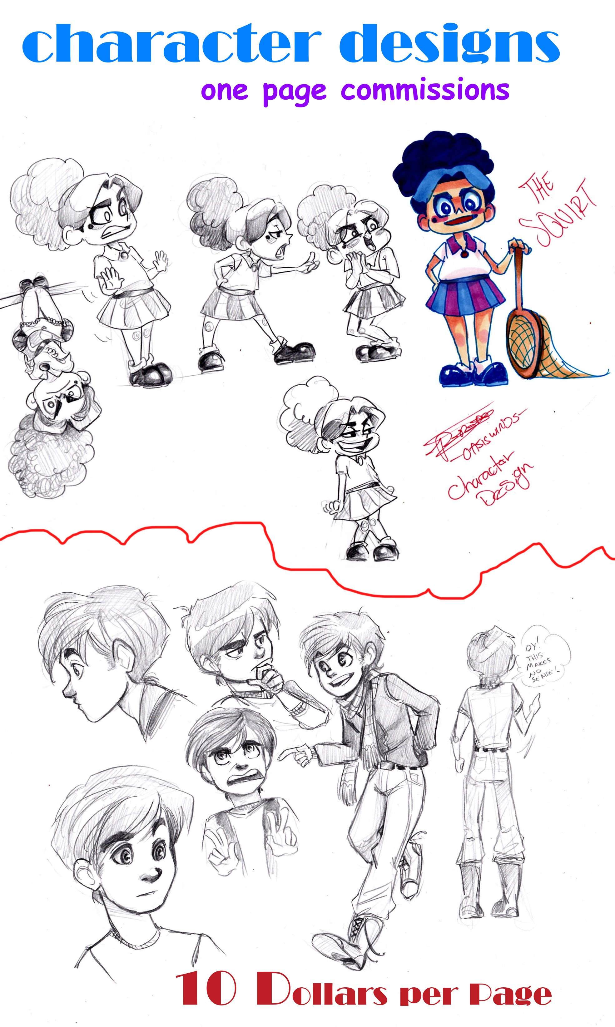 Character Design Page : Character designs one page commissions sheet by oasiswinds