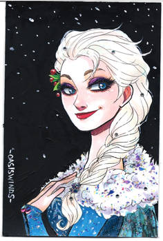 Elsa Hand Painted Post Card Commission