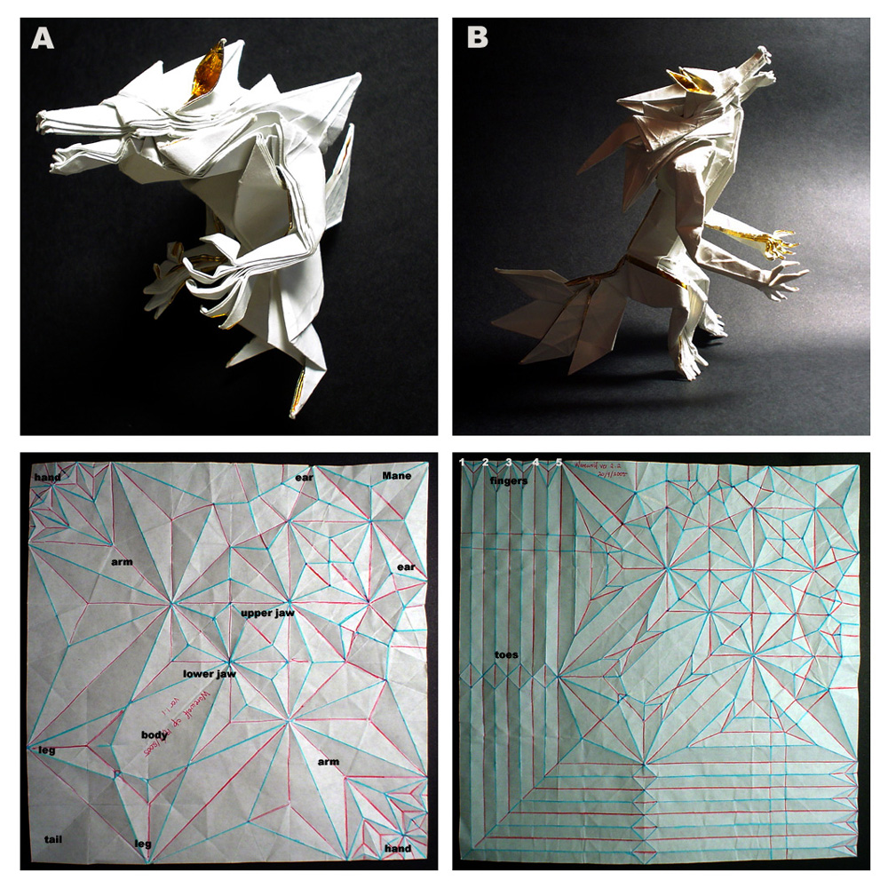 moving origami: easy origami wolf | 1000x1000