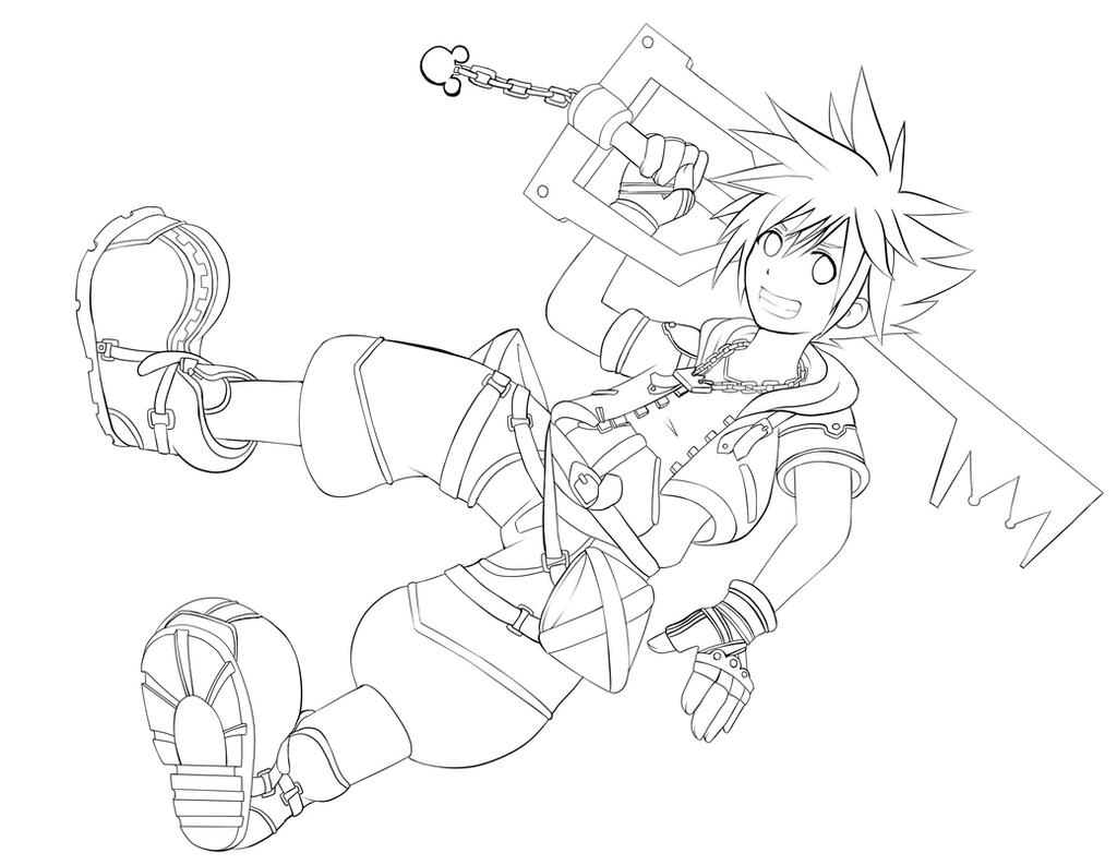 Kingdom Hearts Lineart : Kingdom hearts sora lineart wip by momochan on