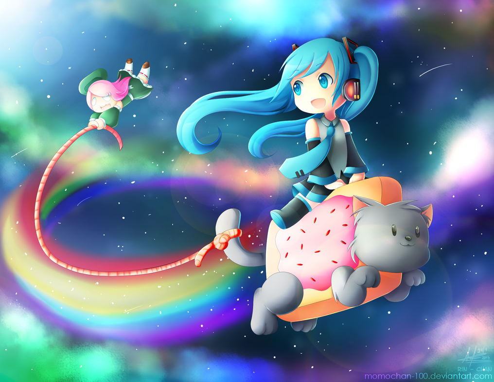 Riding on Nyan Cat! by MomoChan-100