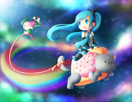 Riding on Nyan Cat! by MomoChan-100