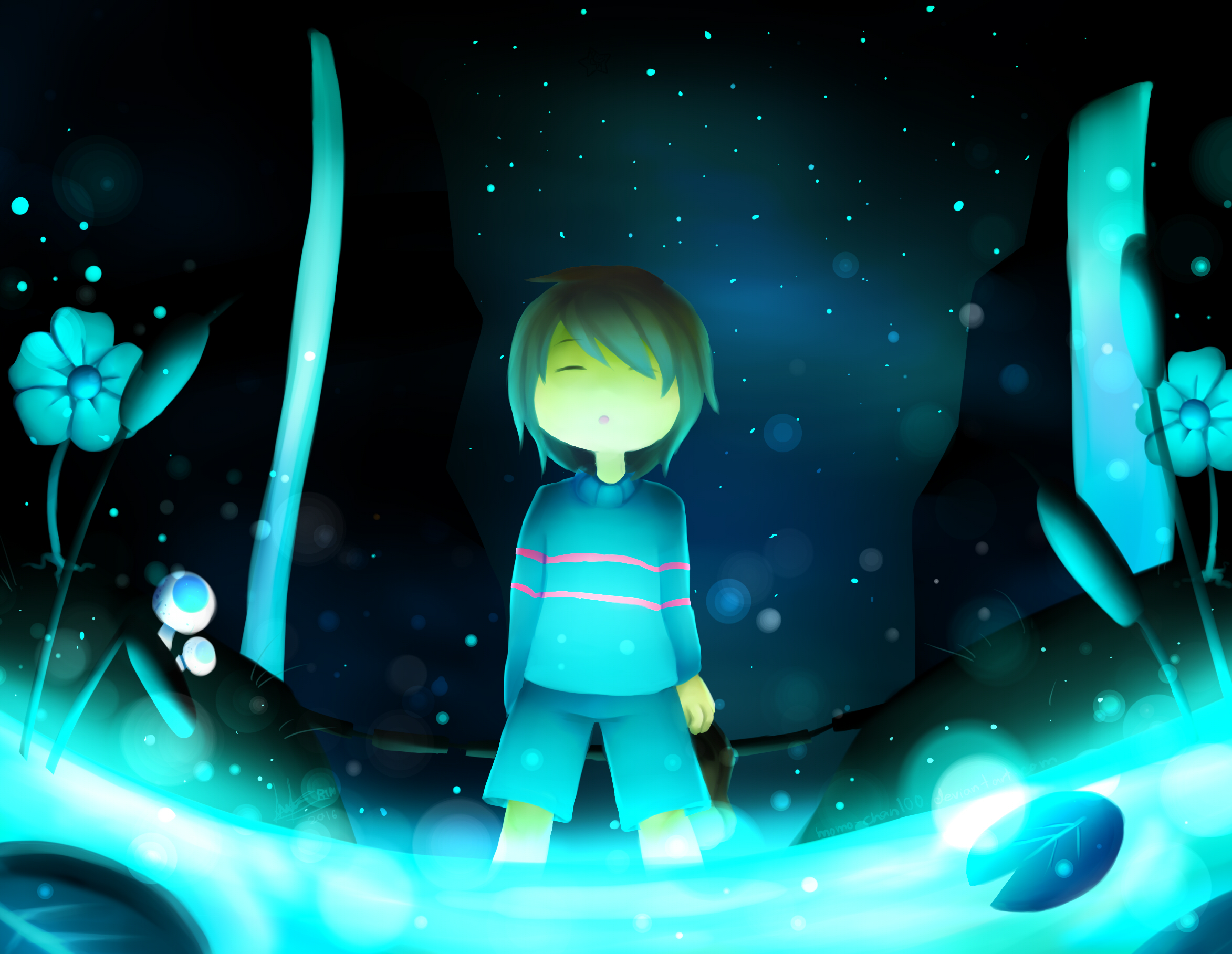 undertale frisk in waterfall - photo #14