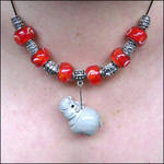 Red and Silver hippo Necklace
